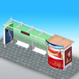 Publicidade de móveis ao ar livre Parada de abrigo de ônibus de aço inoxidável