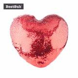 Sublimación en forma de corazón blanco Sequin almohada cubierta con la impresión fotográfica personalizada (Rojo con blanco, 39*44cm) (BZLP3944H-W)