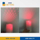 Projetor da vela/luz vermelha do diodo emissor de luz da vela da cera/luz da vela da cera/laser Flameless a pilhas da vela