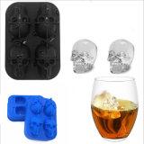 La FDA Food Grade ecológica reutilizable nuevo Whisky cócteles fácil de empujar el cráneo de silicona de 3D de forma de cubo de hielo, hielo molde