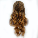 Weiche tiefe Welle 2017 Ombre blonde synthetische Haar-Perücke