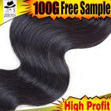 ラインのブラジルの漆黒ボディ波のヘアースタイル