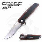 """8.85 """" закрыли черный нож ассистента весны лезвия ручки G10 законченный Sanding+Mirror"""