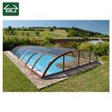 Melhor piscina de policarbonato tejadilho / moldura em alumínio exterior Caixa retráctil