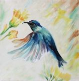 Nouvelle arrivée toujours moderne de la vie de la peinture murale à la main d'animaux de l'huile d'un oiseau