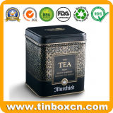 Stagno quadrato impresso del carrello di tè per il contenitore di stagno del tè del metallo