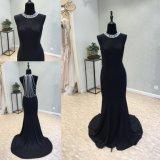 Sirène de satin noir robe de soirée robe de mariage