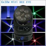 단계 점화 6X30W 광속 LED 이동하는 맨 위 가벼운 소형 꿀벌 눈