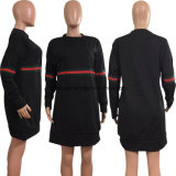 Les femmes haut Automne Hiver Stripe lâche O Sweat-shirt à manches longues col chemisier10462 ESG