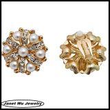 2014 chapado en oro 18k de Rhinestones boda flor Clap aretes de perlas