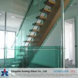 Toughend clair/glace Tempered pour le verre à vitres/escaliers