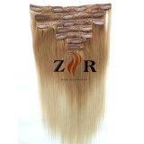 Grampo de cabelo Mongolian desenhado natural da cor clara na extensão do cabelo humano