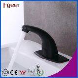 Fyeer Nouveau lavabo à eau froide et à eau chaude Robinet de capteur noir avec vanne de réglage de température