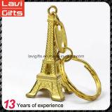 승진 선물 주문 3D 금속 금 에펠 탑 기념품 열쇠 고리