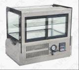 Refrigerador de cristal del escaparate de la torta del vector del acero inoxidable de la puerta de la curva con el Ce, CB, RoHS