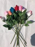 인공 꽃 로즈 장식 유액 로즈 실제적인 접촉 실크 꽃 꽃 결혼식 꽃다발 홈 당 디자인 꽃