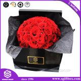 Rectángulo de encargo superior de la flor del cesto de la flor de la cartulina extensa negra del envío
