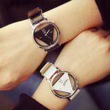 Женщин вахты треугольника вахты повелительниц Feminino wristwatch кожаный планки каркасных чувствительный прозрачный полый