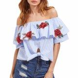 Мода женщин взять на себя Ruffle полосой порванный жгут футболка блуза