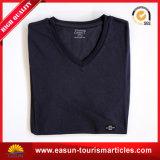 安いブランクはTシャツのTシャツのカスタムロゴのV首のTシャツを切り、縫う