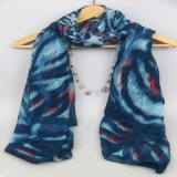 Azo бесплатный цифровой печати голубой тканого шарфа для дам модный аксессуар