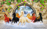 лошадь 3D вне картина стены самомоднейшая декоративная напечатала на панели стены