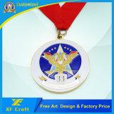 Medalha de finalizador esportiva de esmalte de prata personalizada em forma redonda (XF-MD06)
