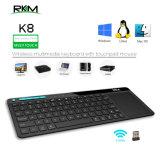 Rkm K8 Clavier sans fil avec build-dans le pavé tactile de grande taille de la souris, batterie Li-ion rechargeable, pour PC,Google Smart TV,Kodi,Raspberry Pi2/3, HTPC IPTV