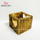 Pequeños plantadores de madera cuadrados del crisol de flor