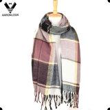 Xaile de lenço de xadrez colorido multicolor de acrílico na moda com franjas