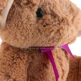 Urso importado da peluche dos animais enchidos do luxuoso com uma curva roxa