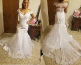 Mermaid цвета слоновой кости кнопки поезда молельни горячего сбывания Wedding Bridal платье