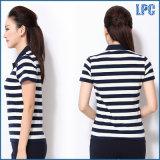 100% Algodão Pique Stripe Polo Shrit para Mulheres