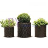 POT di fiore Pavimento-Levantesi in piedi cilindrico di giardinaggio domestico del rattan del PE della pianta succulente