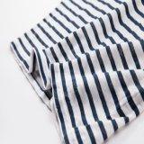 Senhoras 100% linho de manga comprida camiseta de listra impressa