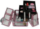 Clear Acrílico Cosmetic Portable Beauty Train Case com Bandeja