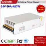 fonte de alimentação do interruptor de 24V 20A 480W reservada para a impressora