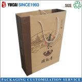 Arte de papel Bolsa de papel Bolsa de la compra con cuerda de algodón