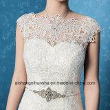 Мантия венчания сексуальной Backless вышивки Applique платья венчания шикарная
