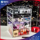 Caixa acrílica da caixa do suporte das gavetas da composição do espaço livre cosmético do organizador