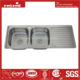 Bassin de cuisine de cuvette de double d'égale de support de dessus de l'acier inoxydable 47-1/5 x 18-7/8 avec le panneau de drain