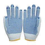 Синий ПВХ пунктирной естественный белый хлопок вязаные рукавицы