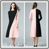 Высокое качество женщин одежду просто Colorblock долго Maxi платья