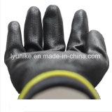 Черный упор для рук PU покрытием из нейлона безопасности работы рукавицы PU перчатки