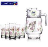 Luminarc 7PCSは印刷したプラスチックふた(G5114)によってセットされた花のガラス水を