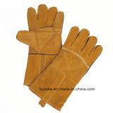 Желтый цвет сварки кожаные перчатки из хлопка