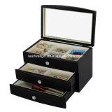 宝石類のギフト用の箱の大きいミラーの黒の木の箱のオルガナイザー
