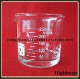 Cubilete de cristal de la forma inferior clara del Borosilicate con el canalón