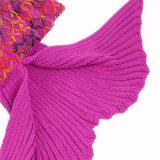 最新のデザイン普及した勾配カラーフランネルの羊毛の人魚のテール毛布