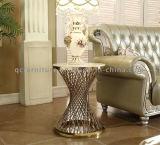 Goldener moderner Draht-Enden-Tisch mit synthetischer Marmoroberseite